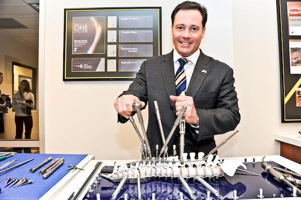Eric Major, co-founder and CEO of Leesburg-based K2M Inc., says the manufacturer's first product launch of the year filled a gap that will allow it to compete with medical technology giants.