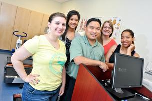 Marymount University students are helping  Goodwill provide wellness education to its employees. The Marymount team includes, from  left, Rachel MacLean, Marta Dimatulac, Chalmer Brigola, Jillian Hamlin and Michelle Cole.