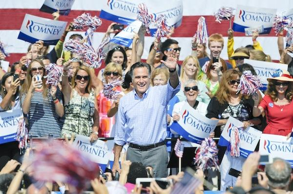 Republican candidate Mitt Romney criticized the president's handling of foreign policy during a Sept. 13 campaign stop at Van Dyck Park in Fairfax.