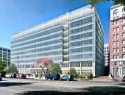 The outer skin on 500 N. Capitol St. NW will be transformed from concrete to glass (shown) by the end of next year.