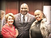 The NFL Alumni Association traded the gridiron for Capitol Hill Feb. 16 to host a congressional reception. The group's executive director and former New York Giant, George Martin, posed with House Democratic leader Nancy Pelosi, left, and Sylvia Mackey, wife of the late Baltimore Colts Hall of Famer John Mackey. The topics for the evening include the association's youth-focused activities and its work as a voice for retired NFL players.
