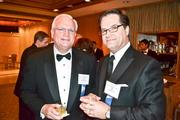Helping to fete the honorees were Don Gibson, left, and Nick Klym, both of JPMorgan Chase.
