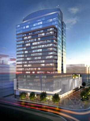 A rendering of the proposed 23-story RTC Partnership building slated for a 2.36 acre lot at 1760 Reston Parkway. The Fairfax County Board of Supervisors approved plans for the building Tuesday despite concerns about its size and location.