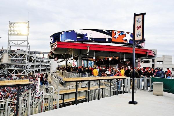 The Red Porch Restaurant in the center  field plaza of Nationals Park is getting ready to pitch an 8-pound StrasBurger to hungry fans.