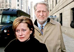 Former WorldCom CEO Bernie Ebbers and his wife, Kristie, exit Manhattan federal court in New York on March 15, 2005. A federal jury found Ebbers guilty on all nine counts for his involvement in an accounting scandal, which resulted in what at the time was the largest bankruptcy in U.S. history.