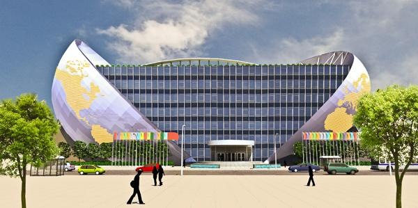 Alfred Liu's proposed trade center would partially sit on a future platform over I-395.