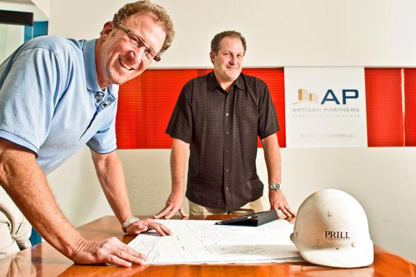 After leaving management positions with prominent Washington-area builders, Geoff Azaroff, left, and Adam Brill started their own company and can now do projects the way they think is best, even if it means working on smaller jobs.