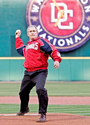President George W. Bush threw out the ceremonial first pitch for the Nationals' April 14, 2005 home opener at RFK Stadium. The Nats beat the Arizona Diamondbacks 5-3 in front of 45,596 people. The club would go on to finish 81-81 that season.