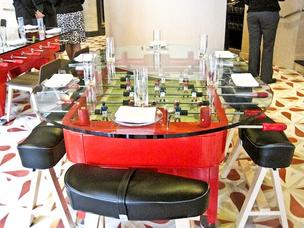 Foosball tables double as restaurant tables at Jaleo.