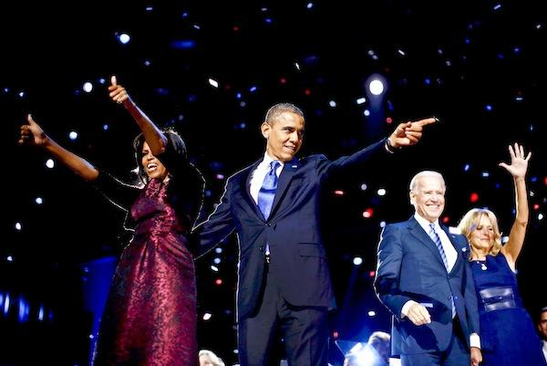 President Barack Obama flanked by first lady Michell Obama, Vice President Joe Biden and Jill Biden on election night.