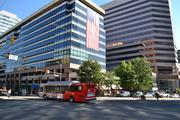 "Buildings at the intersection of N. Lynn Street and Wilson Boulevard in  Rosslyn participate in ""Flags Across Rosslyn"" to commemorate the 11th  anniversary of the 9/11 terrorist attacks."