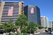 "Buildings along N. Fort Myer Drive in Rosslyn participate in ""Flags  Across Rosslyn"" to commemorate the 11th  anniversary of the 9/11 terrorist attacks."