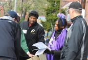 Former Washington Redskin Ricky Sanders and other alumni helped build the new playground on the grounds of DASH's Cornerstone Housing Facility on Saturday, Nov. 3.