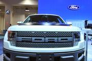 The off-road loving Ford F-150 SVT Raptor has a distinctive brick wall front grille.