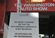 It was a big disappointment for many that the 2014 Chevrolet Corvette Stingray was not on display in Washington. Apparently, it is at the Chicago Auto Show which opens Feb. 8.