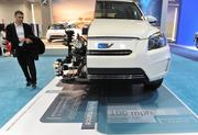 A cross section of the 2013 Toyota RAV 4 EV all-electric gives an inside look to its exciting technology.