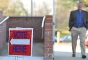 """A """"Vote Here"""" sign directs voters in Waterford to the polling place."""