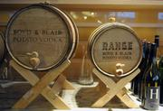 Behind the bar at Voltaggio's Range, Boyd & Blair vodka is aged in oak barrels to create a drink unique to the restaurant.