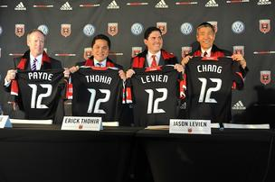 Kevin Payne, left, is stepping down as the president of D.C. United nearly five months after he joined the new owners of the club at a news conference.