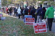 Voter turnout was expected to be strong on Tuesday, and the lines in Rosslyn proved that is the case in battleground Virginia.
