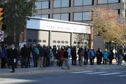 In battleground Virginia, voters line up outside of Fire Station 10 in Rosslyn to vote for the presidential election and the hotly contested Senate race between Democrat Tim Kaine and Republican George Allen.
