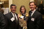 Mike Matalone, left, from Excelsior, with Melanie Coburn, co-founder of Cadre, and Jamie Cuthbert from Auto Serve 1 at the Fastest Growing Companies Awards.
