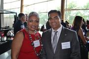 D.C. Chamber of Commerce President and CEO Barbara Lang with Dinesh Sharma, president and CEO of the Washington Business Group.