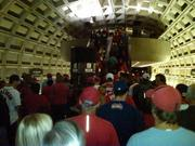 Fans crowded Metro to get to Nationals Park before Game 3 of the National League Division Series.