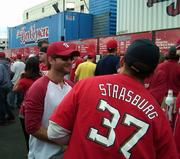 Stephen Strasburg isn't playing but Washington Nationals fans still show love to the star pitcher.