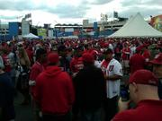 """Washington Nationals supporters gathered in The Bull Pen before the game on Wednesday to """"prepare"""" to cheer on the home team."""
