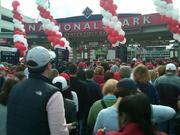 The crowds entered Nationals Park as early as 10 a.m Wednesday before the 1 p.m. start of the third game in the National League Division Series between the Washington Nationals and the St. Louis Cardinals.