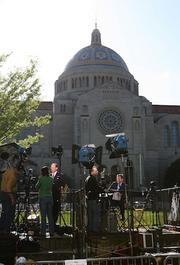 TV correspondents from around the world did their reports from the grounds at the National Shrine of the Immaculate Conception in Northeast D.C.