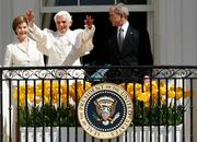 Pope Benedict met with President George W. Bush and first lady Laura Bush at the White House on April 16 and also held talks with U.S. bishops and meetings with Catholic educators and interfaith leaders during the visit.