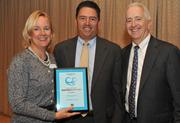 From left, Juli Dennis, director of Wellness and Population Health Management at USI Insurance Services; Rick Rabil of Van Metre Cos.; and Washington Business Journal Publisher Alex Orfinger.