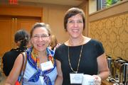 Anne McCulloch, from Fannie Mae, left, with Nicky Goren from the Washington Area Women's Foundationat the Women Who Mean Business breakfast.