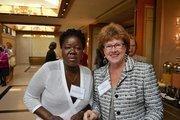Aoko Midiwo-Odembo, from Legacy Books International, left, and Myra Peabody Gossens from MPG Advisorsat the Women Who Mean Business breakfast.