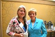 Capital One Bank's Michelle Roth, left, and Denise Popeat the Women Who Mean Business breakfast.