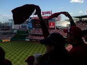 Washington Nationals fans cheer on the home team in Game 3 of the  National League Division Series.