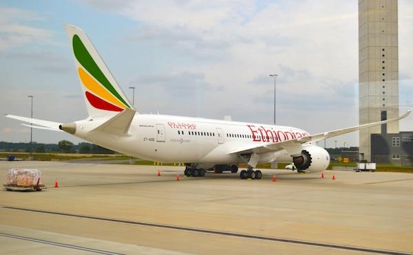 Ethiopian Airlines' first Dreamliner at Dulles International Airport on Aug. 15.