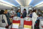 Guests at an event welcoming The Boeing Co.'s 787 Dreamliner to Dulles International Airport toured the aircraft.