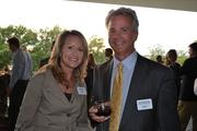 Jen Brown, left, of PeopleTactics, and Brad Rozansky of the Rozansky Realty Group at Cadre's Event of Business Awesome.
