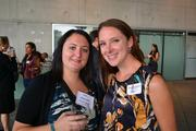 Elizabeth Marshall, left, and Laura Kennington, both of OTJ Architects,at Cadre's Event of Business Awesome.