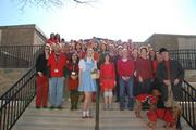 City of Rockville employees dressed in red for the Go Red Heart Health Awareness Fashion Show to support heart health awareness month in February.