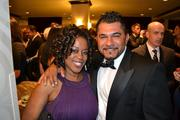 Lisa Kelly, left, of D.C. Housing Enterprise, with Amir Jahic at the D.C. Building Industry Association's annual awards event.
