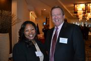 Denise Dixon Basil with Jim Corcoran from the Fairfax County Chamber of Commerce at Cardinal Bank's economic conference.
