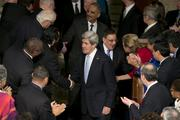From bottom, U.S. Secretary of State John Kerry, U.S. Secretary of  Defense Leon Panetta and U.S. Attorney General Eric Holder enter the  State of the Union address.