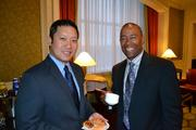 Paul Phan, left, of Mutual of America Securities Corp. with Robert Postell of Washington Gas at the Multifamily Development Symposium.