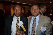 Honoree Carl Biggs of Chemical & Engineering Services Inc., left, and LaFonte Nesbitt of Holland & Knight at the pre-event dinner for the 2013 Minority Business Leader Awards.