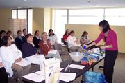 "Virginia Hospital Center employees attend a ""Lunch & Learn Healthy Cooking"" lecture."