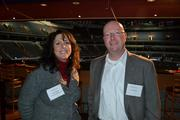 Robbin Shefski, left, from Smart Benefit Options, with Jack Cowper at the BizMixer at the Verizon Center.